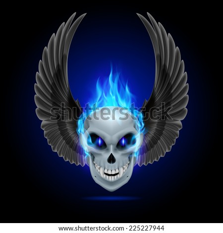 Raster version. Mutant skull with blue flame and raised wings  - stock photo