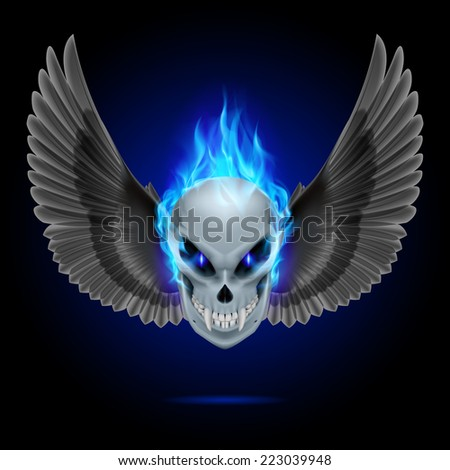 Raster version. Mutant skull with long fangs, blue flame and black wings  - stock photo