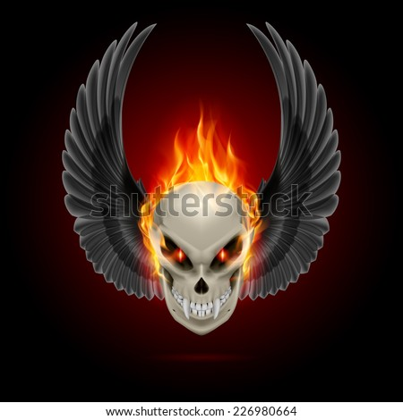 Raster version. Mutant skull with long fangs, orange flame and raised wings  - stock photo