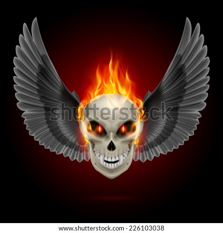 Raster version. Mutant skull with orange flame and black wings  - stock photo