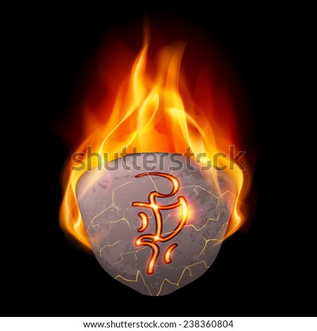Raster version. Mysterious rough stone with magic rune in orange flame