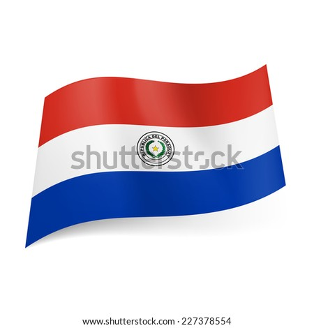 Raster version. National flag of Paraguay: red, white and blue horizontal stripes with coat-of-arms on central band  - stock photo