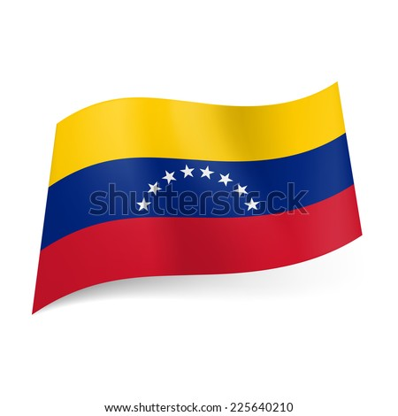 Raster version. National flag of Venezuela: yellow, blue and red horizontal stripes with semi-circle of stars on cental band.  - stock photo