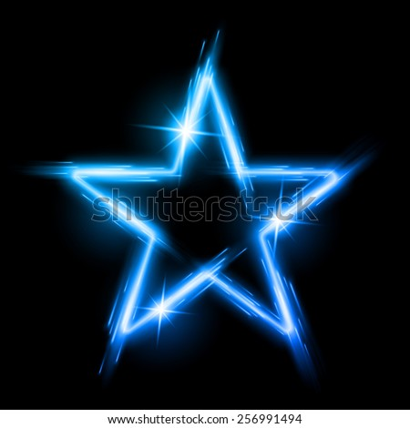 Raster version. Neon glowing blue star with reflection in space - stock photo