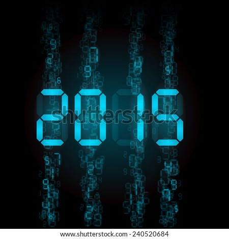 Raster version. New Year 2015: blue digital numerals on black.  - stock photo
