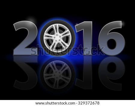 Raster version. New Year 2016: metal numerals with car wheel instead of zero having weak reflection - stock photo