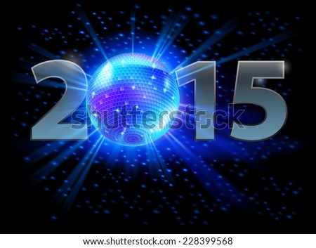 Raster version. New Year 2015: metal numerals with disco ball instead of zero. Illustration on black background.  - stock photo