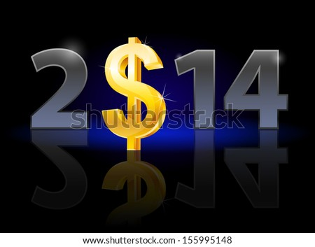 Raster version. New Year 2014: metal numerals with USA dollar instead of zero having weak reflection. Illustration on black background. - stock photo