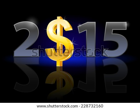 Raster version. New Year 2015: metal numerals with USA dollar instead of zero having weak reflection. Illustration on black background.  - stock photo