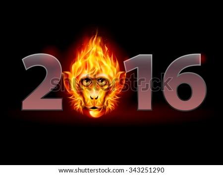 Raster version. New Year Twenty-Sixteen: metal numerals with Fire Monkey Head instead of zero - stock photo