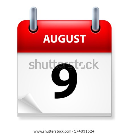 Raster version. Ninth in August Calendar icon on white background - stock photo