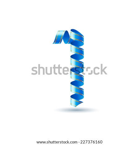 Raster version. Number one made of blue curled shiny ribbon  - stock photo