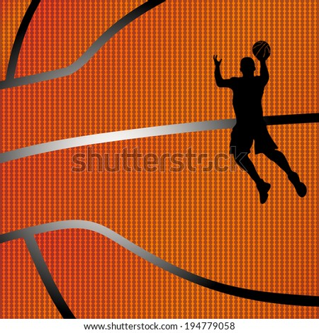 Raster version of a basketball background with black color silhouette of a basketball player