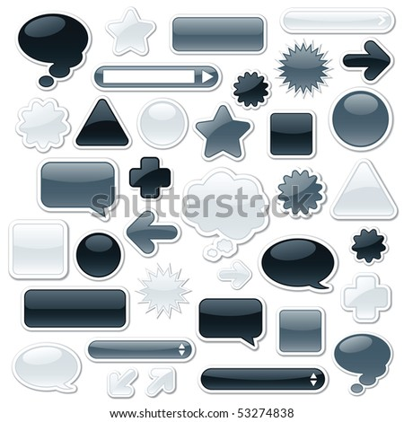 Raster version of a collection of monochromatic, glossy web elements - stock photo