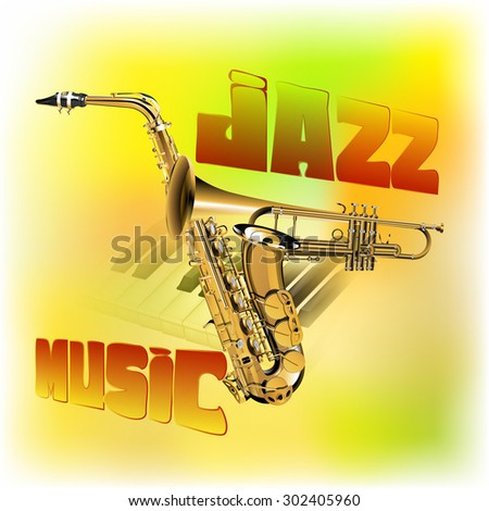 Raster version of a jazz background music, trumpet intersection with the saxophone, guitar strings on the piano with blurred background colored texture - stock photo