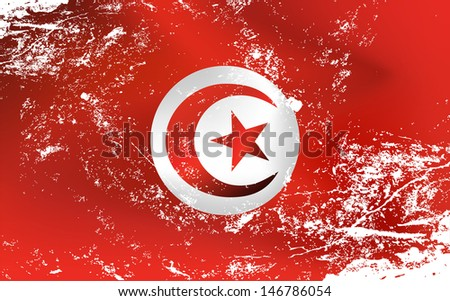 Raster version of a light grunge effect flag of Tunisia. Vector file is also available in my portfolio - stock photo