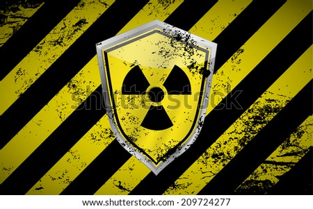 Raster version of a nuclear shield vector background with grunge elements illustration