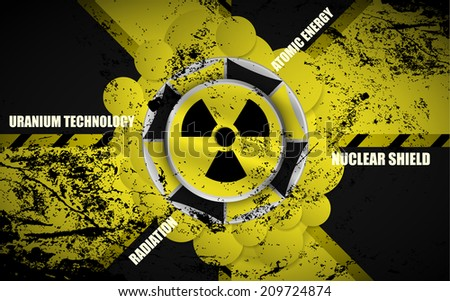 Raster version of a radiation sign abstract vector background illustration - stock photo