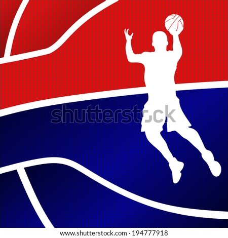 Raster version of a red and blue basketball background - stock photo