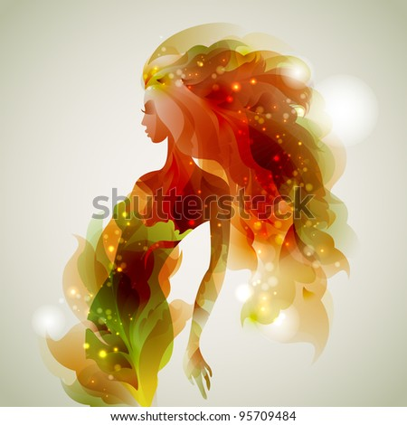 raster version of abstract decorative composition with girl - stock photo