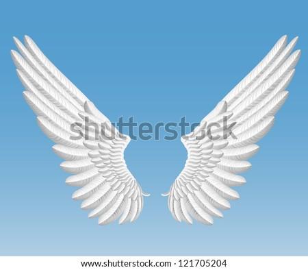 raster version of angel wings - stock photo