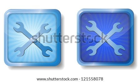 raster version of blue radial wrench icon - stock photo