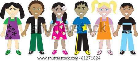 Raster version of children from around the world holding hands. - stock photo