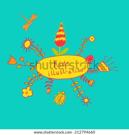 Raster version of children's illustration with flowers, beetle, dragonfly and sun. - stock photo