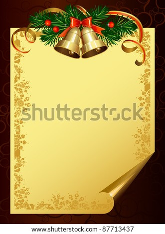 raster version of Christmas backdrop with evergreen trees and bells - stock photo