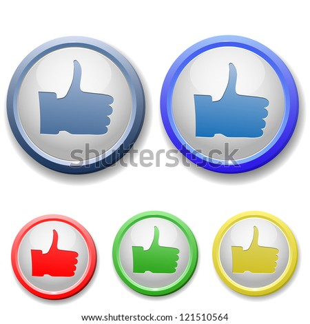 raster version of circle thumb up icon - stock photo