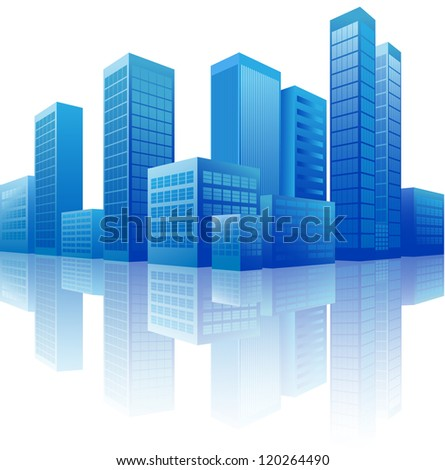 raster version of city - stock photo