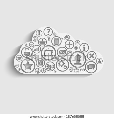 Raster version of Cloud Computing concept background with icons: lock, gears, reitings, basket, bubbles, mail, downloads, social network group - stock photo