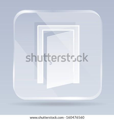 raster version of glass exit door icon - stock photo
