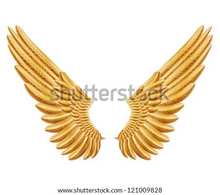 raster version of golden wings - stock photo