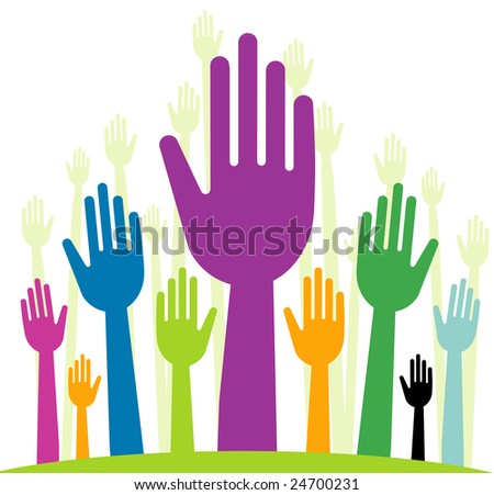 raster  version of happy volunteering hands - part 1 (straight fingers) - stock photo