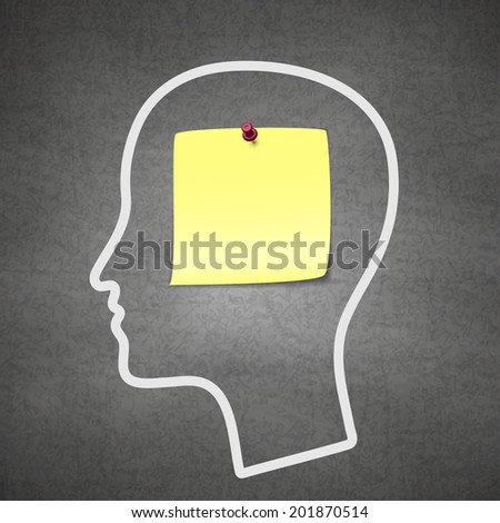 Raster version of Head notes with a blank yellow paper note as a business reminder as a to do list. - stock photo