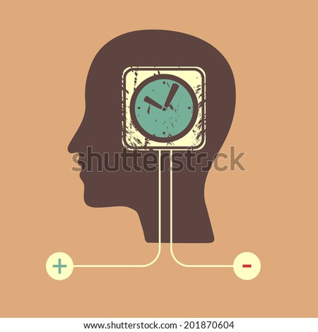 Raster version of Human head with a clock icon - stock photo