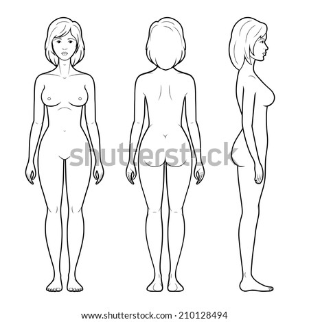 Raster version of illustration of female figure - front, back and side view in outline - stock photo