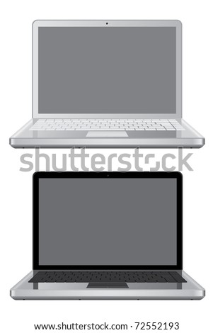 Raster version of Isolated laptops  (vector available in portfolio) - stock photo