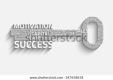 Raster version of key with business words, growth concept - stock photo