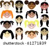 Raster version of kids faces - stock photo