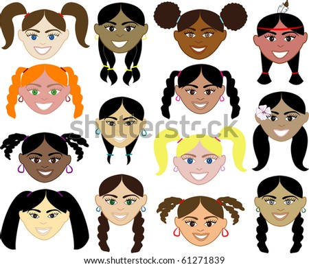 Raster version of kids faces - stock photo