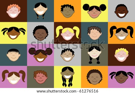 Raster version of 20 kids faces of different races - stock photo