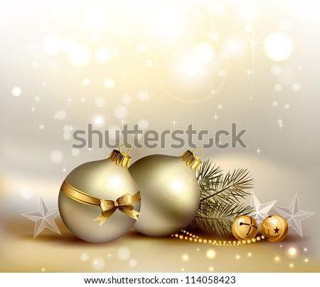 raster version of light Christmas background with two evening balls