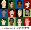 Raster version of 12 Men Faces #2 - stock vector