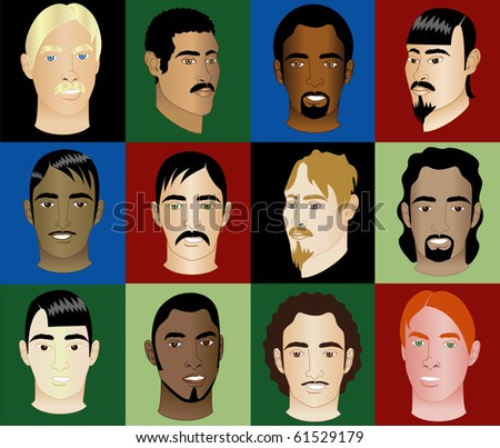 Raster version of 12 Men Faces #2 - stock photo