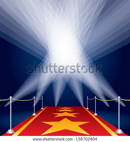 raster version of my vector illustration with stars on red carpet and spotlights - stock photo