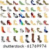 Raster version of 48 patterned shoes. Shoe Silhouettes 3. - stock photo