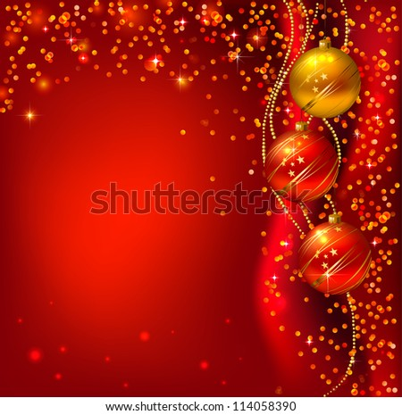 raster version of Red background with Christmas balls - stock photo