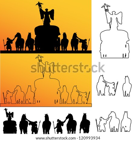 raster version of Roman soldiers silhouette - stock photo